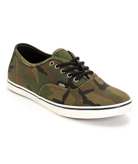 vans authentic lo pro olive camo print shoes womens at