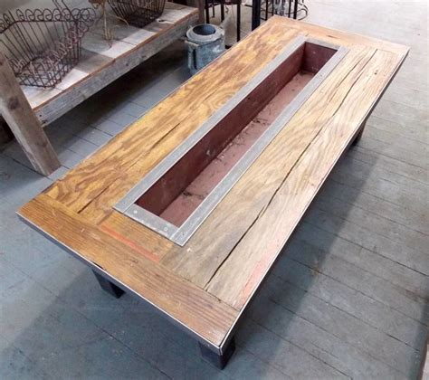 Planter Box Table by Reclaimed Barn Wood Coffee Table With Custom Planter Box