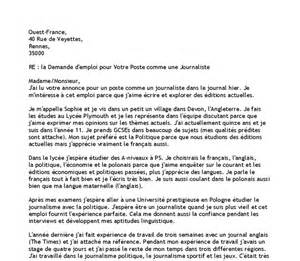 application form application letter in french