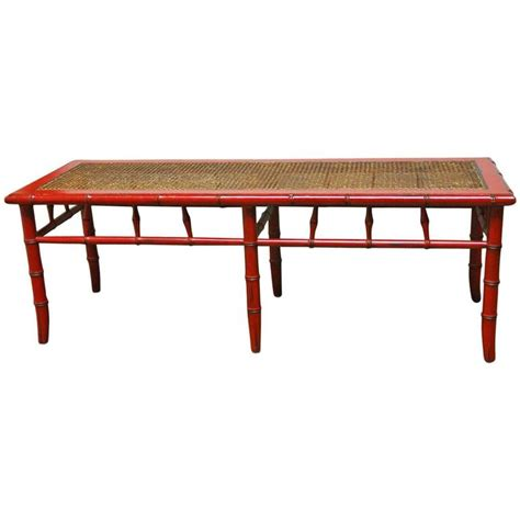 cane benches red lacquer faux bamboo cane bench at 1stdibs