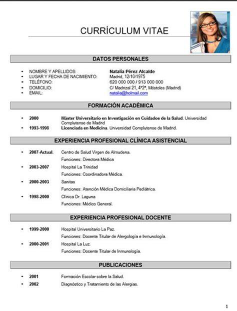 formato cv 2016 ejemplos curriculum vitae formato para llenar 2016 curriculum