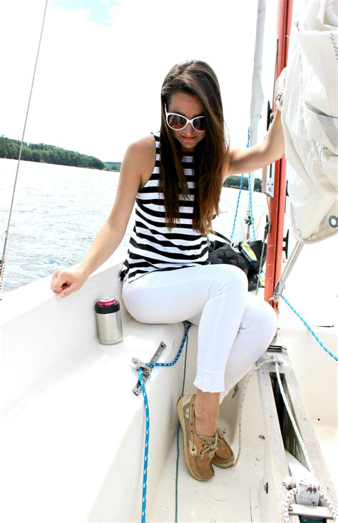 boat outfit what to wear sailing banana republic rugby stripe tank top