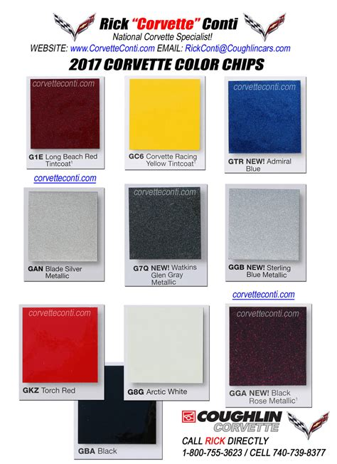 2017 paint colors 2017 actual corvette color chips rick conti coughlin
