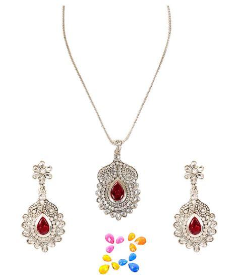 Arum Set arum silver multistone pendant set with chain buy arum silver multistone