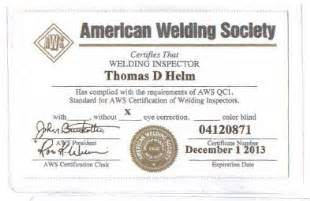 Welding Certification Letter welding inspector certified welding inspector senior certified welding