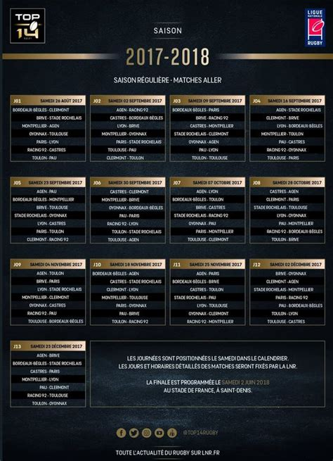 Calendrier 2018 Rct Le Calendrier 2017 2018 Est 233 Rct Rugby Club