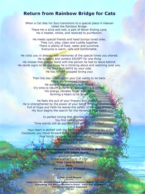 rainbow bridge poem rainbows and quotes quotesgram