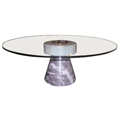 coffee table with marble base and glass top by giotto