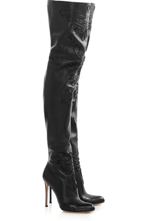 thigh high black leather high heel boots vintage black leather flower thigh high boots heels