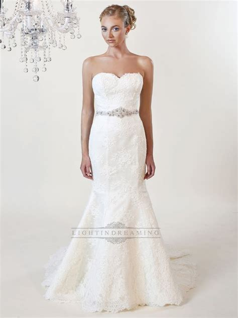 strapless mermaid sweetheart lace wedding dress with