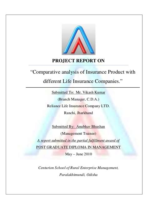 Lic Project Report For Mba by Reliance Insurance Summer Project Report 2010