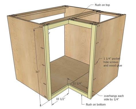Building Kitchen Cabinets Plans White Build A 36 Quot Corner Base Easy Reach Kitchen Cabinet Basic Model Free And Easy Diy