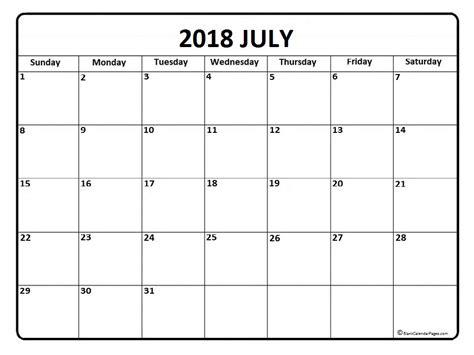Blank 2018 Calendar July 2018 Calendar July 2018 Calendar Printable