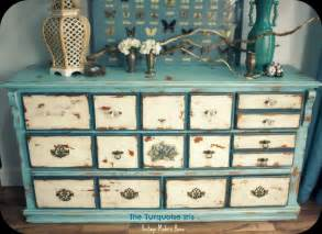 Distressed Painted Furniture Ideas Design The Turquoise Iris Furniture Vintage Distressed Dresser In Blue Creme