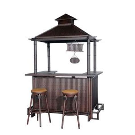 sunjoy oasis 3 patio bar set with brown cushions l