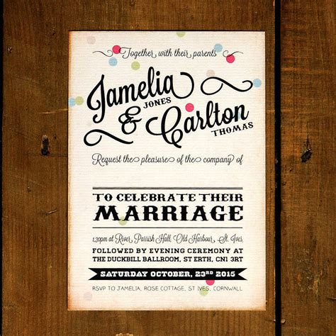 Wedding Invitation Vintage by Vintage Confetti Wedding Invitation By Feel Wedding
