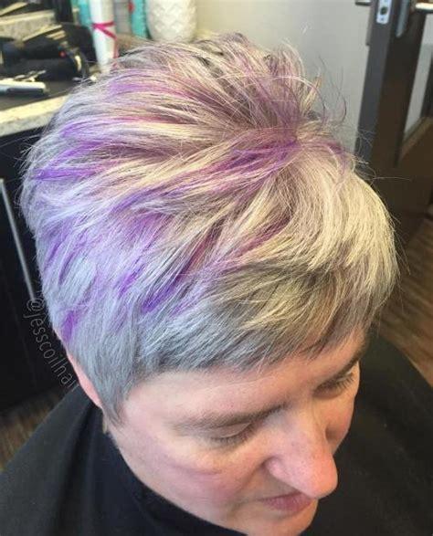 shag haircut brown hair with lavender grey streaks 60 gorgeous hairstyles for gray hair