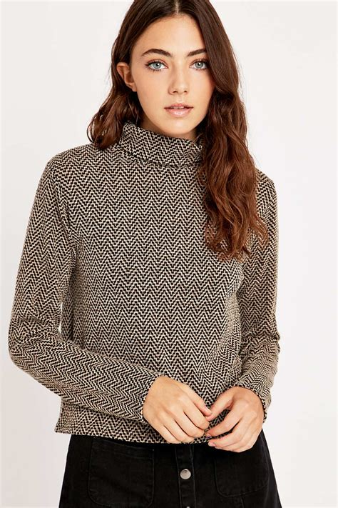 retro pattern jumper urban outfitters retro pattern turtleneck jumper in brown