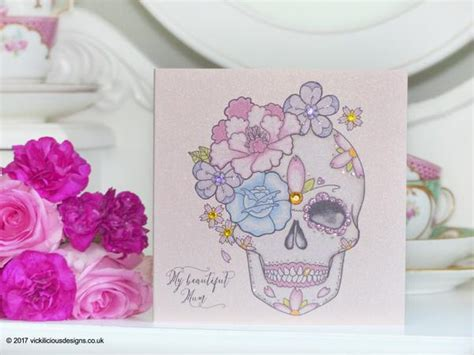 mother s day tattoo handmade s day card peony and sugar skull