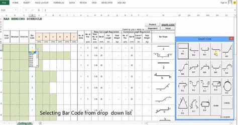 Rebar Estimating by Bar Bending Schedule Software Excel Html Autos Weblog