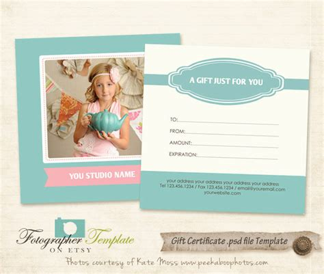 gift certificate photography template gift certificate card template photography templates g112