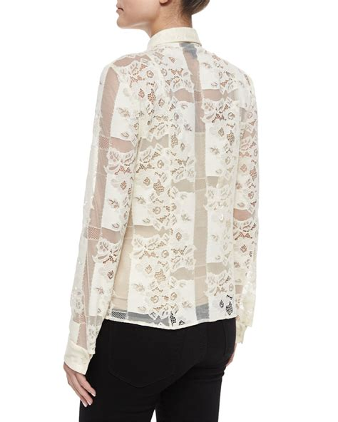 White Lace Button Blouse by Just Cavalli Sheer Lace Button Blouse In White Lyst