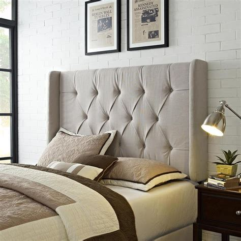 tufted wingback upholstered headboard wingback tufted ivory upholstered headboard