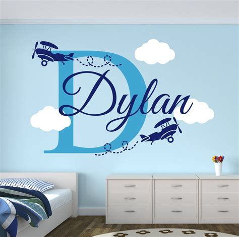 decals for rooms custom boys name airplane clouds decal nursery decor room decor vinyl wall sticker