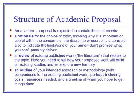 academic proposals layout proposals progress reports