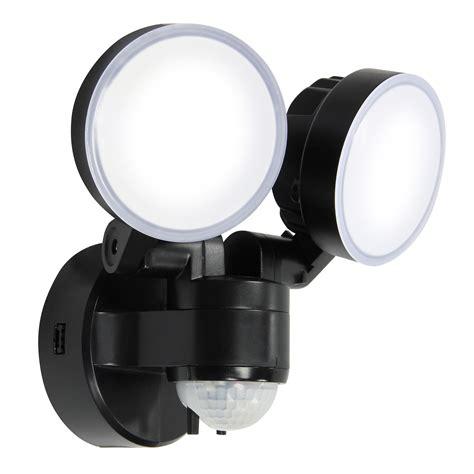 external solar security lights blooma stata black 16w mains powered external pir