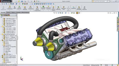 tutorial solidwork assembly car engine solidworks 3d cad model grabcad