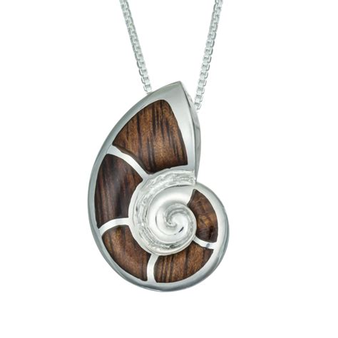nautilus koa wood necklace