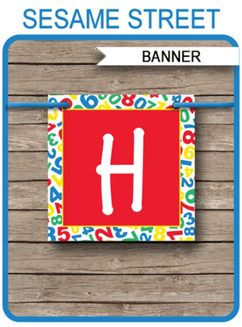 sesame street party banner template happy birthday bunting