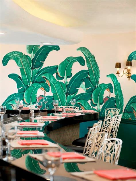 banana leaf wallpaper beverly hills hotel tropical modern d 233 cor at the beverly hills hotel