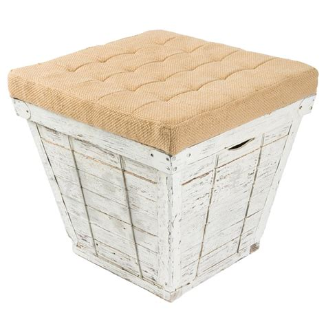 wood crate ottoman dane coastal beach weathered white storage crate burlap