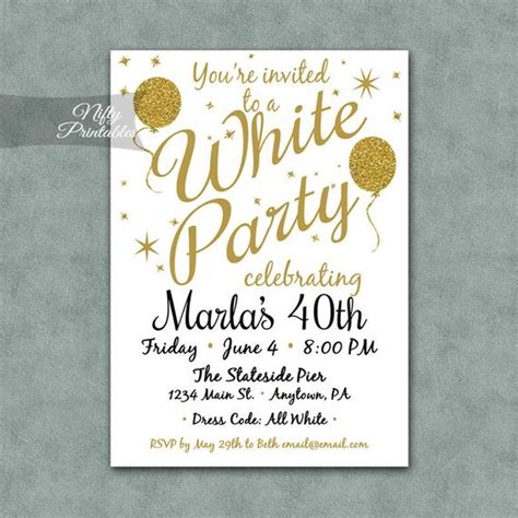White Party Invitation Printable White Gold Black Tie White And Gold Invitation Templates