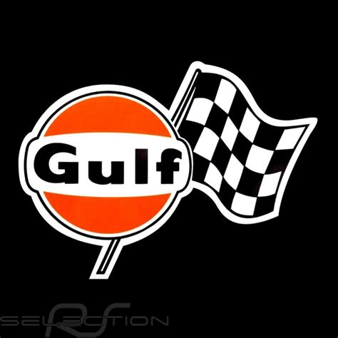 gulf logo gulf logo with checkered flag sticker 13 5 x 10 cm