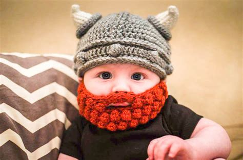 knitted baby beard lael viking crochet hat with bobble beard for baby