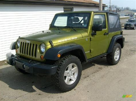 jeep rubicon green 2007 rescue green metallic jeep wrangler rubicon 4x4