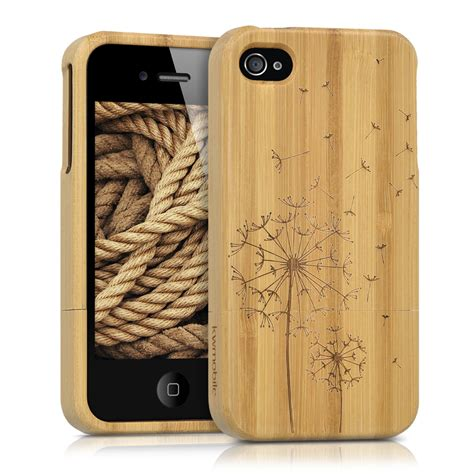 Wood Apple Iphone 4 4s 2 wood cover for apple iphone 4 4s light brown bamboo dandelion back
