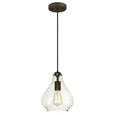 Clear Glass Pendant Light Fixtures Westinghouse 1 Light Rubbed Bronze Adjustable Mini Pendant With Blown Clear Glass