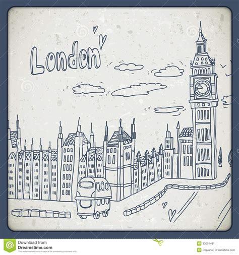 imagenes vintage londres londres garabatea paisaje del dibujo en estilo del vintage