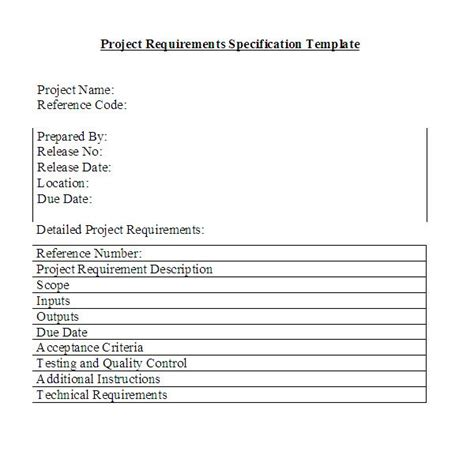 Free Downloadable Project Requirements Specifications Template Project Requirements Document Template
