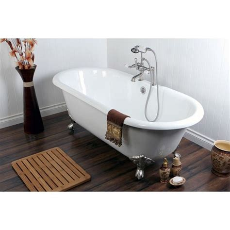 66 inch cast iron bathtub 66 quot cast iron claw foot tub w satin nickel tub faucet