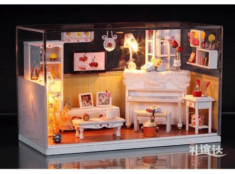 dolls house room boxes crystal box led light dollhouse room miniatures warm house kit with cover in doll