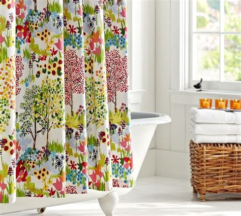 colorful curtains colorful printed shower curtain draping ideas