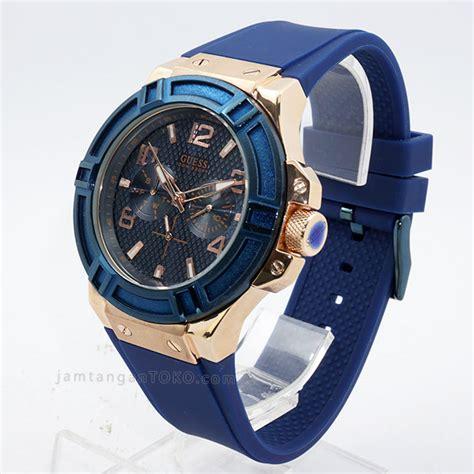 Jam Tangan Wanita Berlapis Emas gambar guess blue w0247g3 rubber kw grade aaa bagian sing 1 187 jamtangantoko