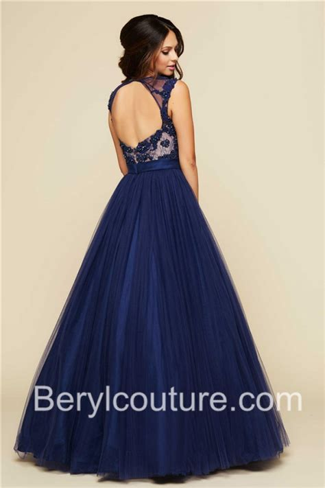 blue beaded gown gown illusion neckline open back navy blue tulle lace