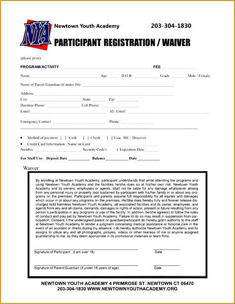 sports registration form template 4 baseball registration form template fabtemplatez