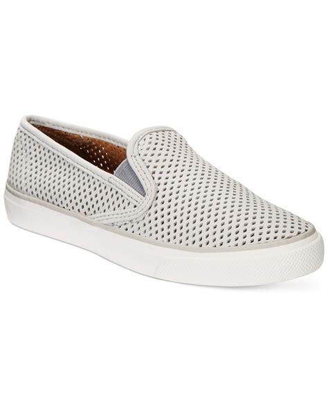 slip on sneakers womens sperry top sider s seaside slip on sneakers in gray